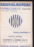 1962/63 BRISTOL ROVERS V BOURNEMOUTH 17-11-1962 Division 3