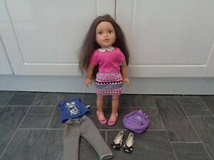 design a friend bundle-brunette doll+2 x matching outfits,2 pairs shoes+rucksack