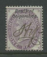 GB QV BRADFORD CORPORATION COMMERCIAL OVERPRINT on FISCAL 1d DEEP LILAC