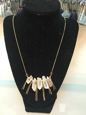 NWOT Clear Quartz Stone And Gold Long Fringe Statement Necklace Anthropologie