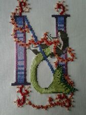 "Nora Corbett Mermaid Letter ""N"" Completed Cross Stitch"