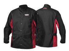 Red Line WELDER'S FLAME RETARDANT JACKET Large, Leather Sleeves BLACK/RED