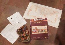 "New listing 1983 Sunset Stitchery Kit ""Bear With Us"", #2605, 10"" x 20"", 10 Teddy Bears!"