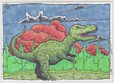 Dinosaurs Tyranosaurus Rex - Clinton Yeager Artists Proof Sketch Card Island 5x7