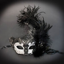 Womens Brocade Lace Ostrich Feather Venetian Masquerade Mask [Black/Silver]