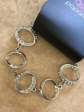 Paparazzi BEAUTIFUL INSIDE & OUT Silver Bracelet CONNECTOR OVALS RHINESTONES-New