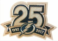 "TAMPA BAY LIGHTNING PATCH 25TH ANNIVERSARY 1992-2017 PUCK STYLE 3.5"" STAMKOS"