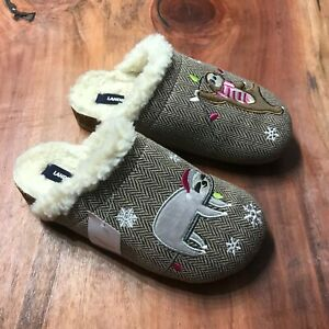 NEW Lands' End Women's Faux Fur Slippers Sloth Embroidered US 7
