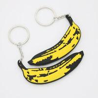 Lovely Banana Pendant Keychain Key Ring Rubber Women Handbag Accessories Gift