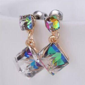 Beautiful AB Double Crystal Cube Stud Earrings