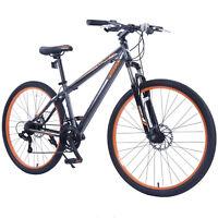 """27.5"""" Men's Mountain Bike Shimano Hybrid 21 Speed Bicycle  Grey Orange"""