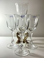 """4PCS Towle Austria Crystal Wine Water Glasses Goblets Panel Optic York 8.25"""" NEW"""