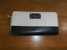 Kate Spade  Leather Zip Around Wallet black and ivory