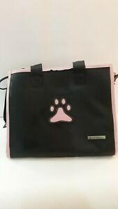 Small Treasures Leather Dog Carrier Black Pet Carrier Travel Bag