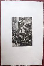 Eau-forte originale, Le sac de Dinant, Ferdinand Roybet