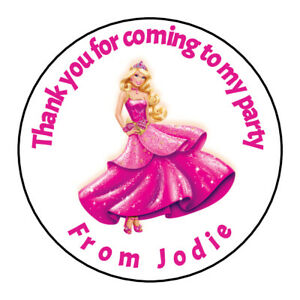 Personalised Barbie Doll Stickers Sweet Cones Birthday Thank You Party Cake Box