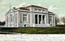 1907 Postcard; Carnegie? Hall Memorial Library, Ellington CT Tolland Co. Posted
