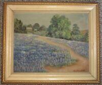 Vintage Early Listed Texas Artist ANASTASIA SALT Bluebonnets Landscape Painting