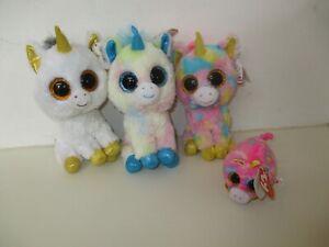ty Beanie Boos - Pegasus Unicorn, Fantasia Unicorn, Blitz Unicorn, Star Unicorn