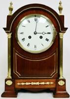Beautiful Antique French 8 Day Striking Mahogany & Bronze Mantle/Bracket Clock