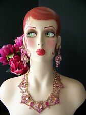 Juliana Style Pink Open Back Rhinestone Couture Necklace Set by Lilien Czech