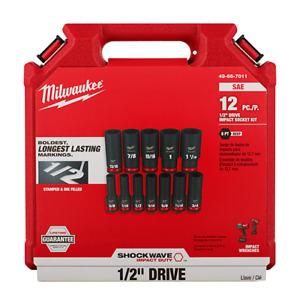 "Milwaukee 49-66-7011 SHOCKWAVE Impact 1/2"" Drive SAE 6 PT Deep Socket 12pc New"