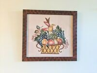 VINTAGE FRAMED FOLK ART THEOREM PAINTING VELVET SIGNED FRUIT BIRD Wall Hanging