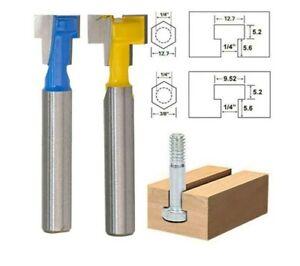 """2Pcs Woodworking Cutter T-Slot Router Bit Keyhole AU Kit 1/4""""&3/8"""" Shank ACB UK"""