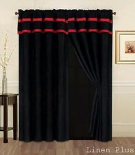 Red Black Micro Suede New Window Curtain Panels Liner Tassel Set LinenPlus