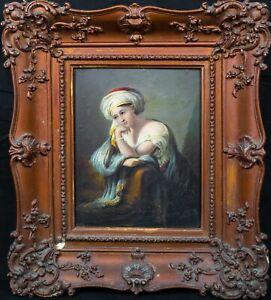 17th Century Italian Old Master Portrait Of Sybil Antique Oil Painting
