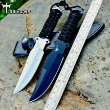 Trailing Point Knife Hunting Tactical Survival Combat Jungle Cord Wrapped Sheath