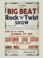 """Screaming Lord Sutch Exeter 16"""" x 12"""" Photo Repro Concert Poster"""