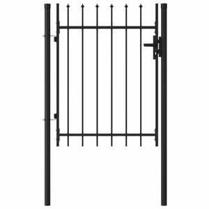 vidaXL Fence Gate Single Door with Spike Top Steel 1x1.2m Black Garden Barrier
