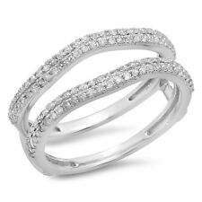 10K White Gold Diamond Wedding Band Enhancer Guard Double Ring 1/2 CT Size 7.5