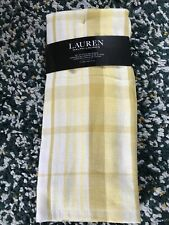 Ralph Lauren Set Of 2 Kitchen Tea Towels Yellow Stripe Check Plaid New With Tags