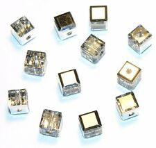 SCC177f CRYSTAL COMET ARGENT LIGHT Swarovski Faceted 4mm Square Cube Bead 12/pkg