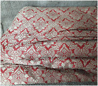 Dress Fabric By The Metre Brick Red Jacquard Mettalic Brocade Wedding Material