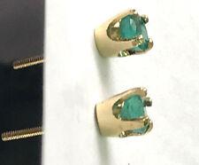 Estate Emerald Stones Yellow Gold 14KT Screw Back Stud Earrings