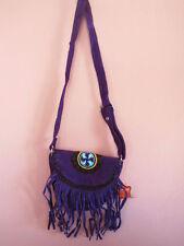 Genuine UltraSoft Purple Suede Leather Western Shoulder bag fringed w/ belt loop