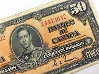 1937 Canada 50 Dollar Fifty Dollar Circulated BH Coyne Towers Banknote R323