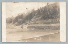 """Zook"" Buckeye City RPPC Antique OHIO Photo—Stone Wall on River—Danville OH 1908"