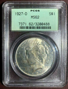 1927-D $1 Peace Dollar PCGS MS62 OGH