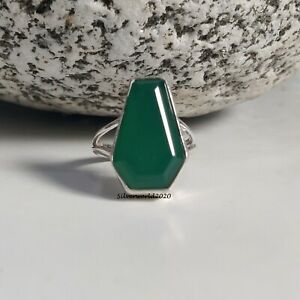 Emerald Coffin Ring 925 Sterling Silver Plated Handmade Ring Size 8 at43