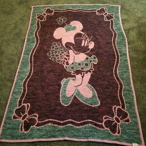 """Vintage Biederlack Minnie Mouse Throw Blanket Reversible 52"""" x 74"""" Pink"""