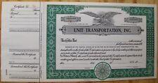 Stock certificate Unit Transportation, Inc., Michigan State
