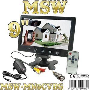 """MONITOR LCD TFT 9"""" Con 2 INGRESSI VIDEO AUTO CAMPER POGGIATESTA Video SECURITY"""