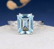 4.3 Ct Emerald Aquamarine Prong Set Women's Solitaire Ring 14k White Gold Plated