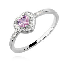 925 Sterling Silver Pink Heart Ring Cute Love Size I J K L M N O P Gift Present