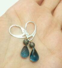 London blue Topaz briolettes Pave Diamond earrings dangle silver 925