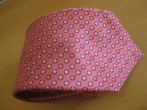 BRIONI Italy Hand Made SILK Neck Tie  PINK Print Cravatte